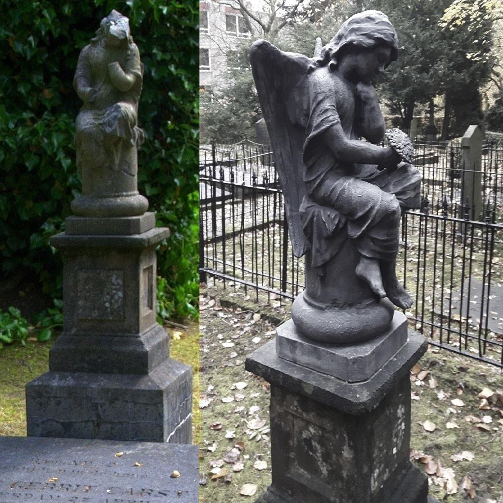 Beschadigde en gerestaureerde engel op de grafkelder van de familie Carst